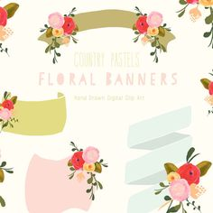 Hand Drawn Floral Banner Clip Art  Country Pastels by CreateTheCut