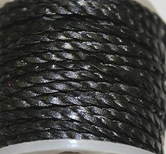 Genuine Leather * High Quality * 2mm-flat - 2 Strands - Twisted - 3 Colors - Natural, Black, Red Brown - Packing of 1 Yard, 5 Yards, 10 Yards in Hank