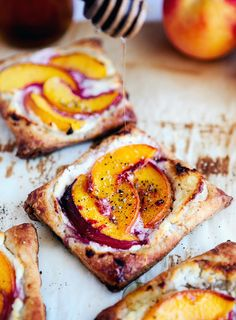 Peach Tarts with Goat Cheese and Honey #recipes #dessert