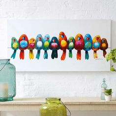 Bild Vogelparade Wanddekoration Malerei Gemälde Wandbild Poster Vogelbild NEU