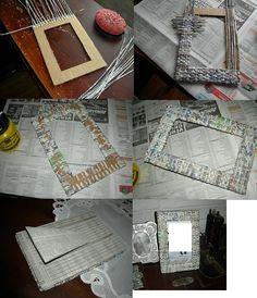 Marco con papel trenzado
