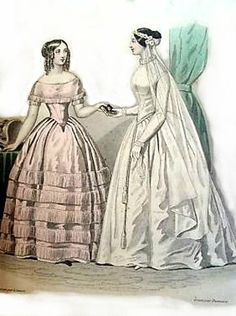 1845. wedding dress, Journal des Demoiselles