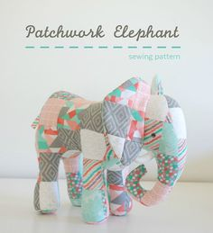 Sewing Stuffed Animals Looking for your next project? You're going to love Patchwork Elephant by designer Abby Glassenberg. Sewing Toys, Sewing Crafts, Sewing Projects, Sewing Tutorials, Sewing Stuffed Animals, Stuffed Animal Patterns, Stuffed Toys, Quilt Baby, Love Sewing