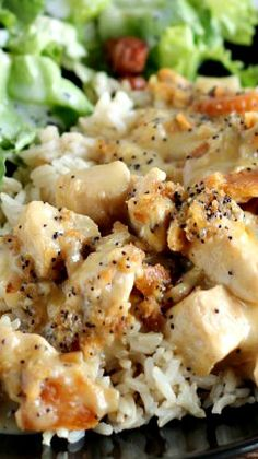 Poppyseed Chicken Recipe ~ It's creamy, rich, and topped with a crispy buttery cracker crumb topping.