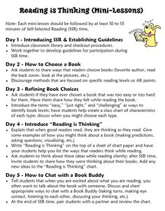 Reading is Thinking Mini-lessons.  Encourage your students to think and talk about their reading using these simple mini-lessons just before silent individual reading time. The kids will grow as readers and thinkers!
