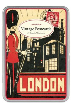 "This beautiful set of postcards (or ""carte postale"" in French) features 18 assorted postcards with classic London designs from the Cavallini archives all in a wonderful reusable tin box. Made by Cavallini and Co. these are printed on high quality classic cream paper stock. These postcards are truly a joy for sender and reciever alike.  London Postcards by Cavallini & Co. Home & Gifts - Gifts - Stationery & Office Boulder Colorado"
