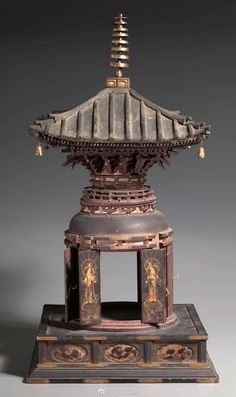 Many-Jeweled Stupa Reliquary (Tahōtō shari yōki) Ancient Chinese Architecture, Asian Architecture, Architecture Office, Futuristic Architecture, Japanese Bonsai Tree, Kamakura Period, Lotus Sutra, Architecture Concept Drawings, Buddhist Symbols