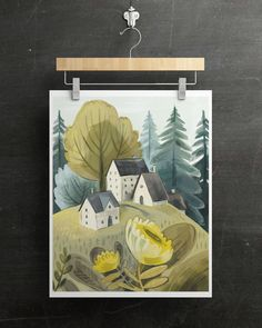 Multimedia gouache painting, Kass Reich illustration, art print available