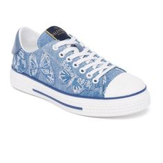 Valentino Denim Butterfly Low-Top Sneakers ($1,175) ❤ liked on Polyvore featuring shoes, sneakers, denim, valentino sneakers, denim cap, butterfly shoes, low profile shoes and valentino trainers