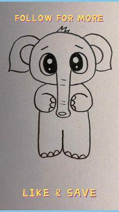 Disney Drawings Sketches, Cute Cartoon Drawings, Art Drawings Sketches Simple, Easy Doodles Drawings, Art Drawings For Kids, Easy Drawing For Kids, Drawing Lessons, Drawing Techniques, Hand Art Kids