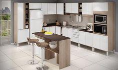 Cozinha Americana Modulada 14 Módulos Ilhabela Carvalho Dover/Branco/Trufa Trama - Gralar