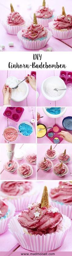 Making DIY unicorn bath bombs yourself: unicorns are currently very trendy and i . Cool Diy, Easy Diy, Unicorn Bath Bombs, Cocktail Cake, Diy Xmas Gifts, Sugar Scrub Diy, Themed Cupcakes, Diy Spa, Kitchen Gifts