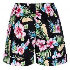 Nishka Black Hibiscus Shorts | Vintage Inspired Fashion - Lindy Bop