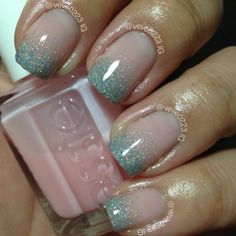 I love these!!! I used Essie Sugar Daddy with China Glaze Glistening Snow and Fairy Dust for the gradient. They are so delicate and feminine and sparkly!!