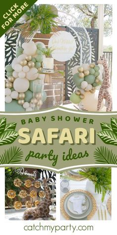Feast your eyes on this impressive safari baby shower! The table settings are so pretty! See more party ideas and share yours at CatchMyParty.com  #catchmyparty #partyideas #safari #safariparty #safarianimals #safaribabyshower #boybabyshower
