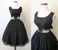 Gorgeous 1950's Black Silk Cocktail Party Dress w/ by wearitagain, $298.00
