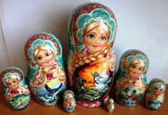 """Czar Saltan Exclusive 7-Piece Nesting Doll. This extraordinary 7 piece nesting doll is one-of-a-kind work of art. The famous tale of Czar Saltan"""" (written by Alexander Pushkin in 1831), comes to life with each piece of this unique collection. 