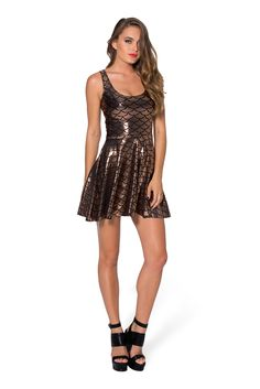 Mermaid Bronze Reversible Skater Dress - LIMITED by Black Milk Clothing $80AUD