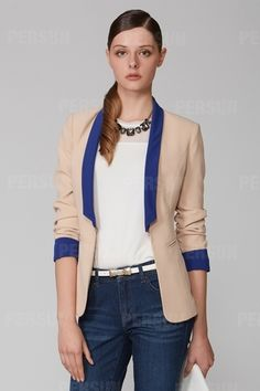 Color Contrast Slim Charming Blazer in Apricot [FFBI0260]- US$ 60.99 - PersunMall.com