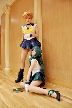 by re, cosplay of Sailor Neptune and Sailor Uranus from Sailor Moon