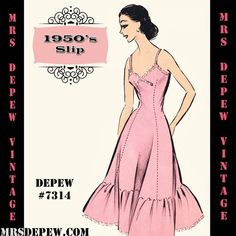 Vintage Sewing Pattern 1950's Full Slip in Any Size- PLUS Size Included- Depew 7314 -INSTANT DOWNLOAD-