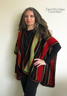 Crochet Ruana Poncho PATTERN / Lightweight door CrystalBearDesigns
