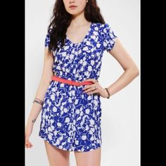 Urban Outfitters Silky Sabrina Shirtdress Kimchi Blue at Urban Outfitters. Super cute and light summer dress. Perfect belted or without. Belt NOT included. Excellent used condition. Urban Outfitters Dresses Mini