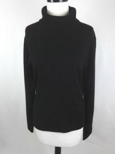 Ann Taylor Sweater Cashmere Knit Black Turtleneck Luxury Layers Career L | eBay