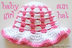 Baby Girl Sun Hat (3 - 6 months, worsted)