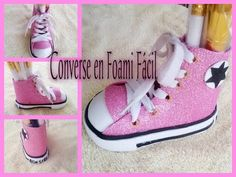 zapato converse mini en foami para decoracion (porta lapices, porta brochas) - YouTube