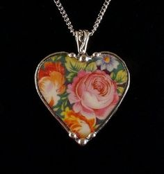 Vintage China Jewelry Broken Plate Heart  Necklace