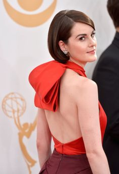 Your Up-Close Look at All the Hair and Makeup Looks From the Emmys: Don't worry! Claire Danes didn't get the big chop. But her faux bob is definitely up for the best hair award of the night.  : While Michelle Dockery is stuck in Edwardian times on Downton Abbey, but for the Emmys she went with a sleek mod hairstyle.
