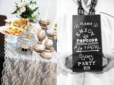 Vintage Popcorn Bag DIY, Oscars Party Ideas, PJs and Pearls Oscars Party Theme