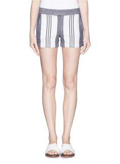 VINCE - Colourblock stripe hopsack shorts   Blue Shorts Pants   Womenswear   Lane Crawford - Shop Designer Brands Online