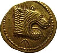 Aureo da 50 unità - oro - Populonia (IV sec.a.C.) - leone con fauci spalancate e lingua pendente vs.dx. - Museo arch. naz. Firenze