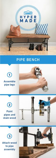 Spruce up your home decor with this easy to build pipe bench. With just a few tools, you'll have this project done in no time!
