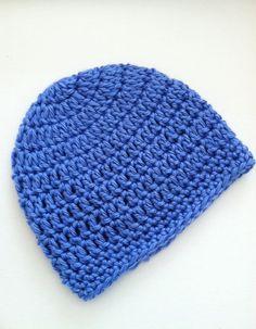 Medium Blue Beanie Crochet Baby Hat Newborn by LakeviewCottageKids, $15.00