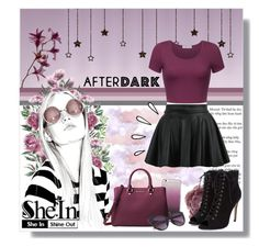 """""""SheIn - Black Flare Skirt"""" by angelstylee ❤ liked on Polyvore featuring Kate Spade, Michael Kors and Old Navy"""