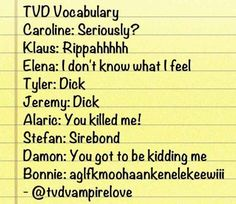 This summary of TVD characters' vocabulary.