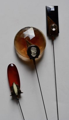 Vintage Victorian Style Glass & Jewelry Hat Pin Collection Set of 3 Glass Hatpins Ruby Amber Onyx