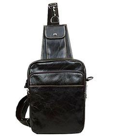 ce167feee088 Genda 2Archer Men s Genuine Leather Shoulder Bag Crossbody Sling Hiking  Satchel Chest Bags Small Backpack Genda
