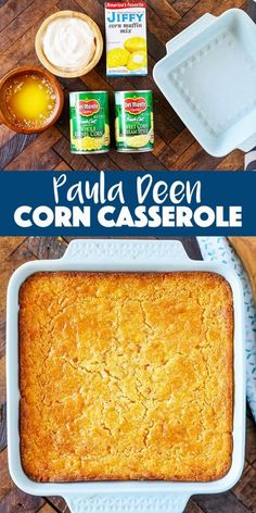 Paula Deen Corn Casserole Recipe Paula Deen Corn Casserole Recipe<br> Tender golden brown Paula Deen Corn Casserole is the perfect easy side dish. You are going to love this classic southern comfort food it's always to first to go at potlucks! Paula Dean Corn Casserole, Baked Creamed Corn Casserole, Creamy Corn Casserole, Easy Casserole Recipes, Paula Deen Broccoli Casserole, Paula Deen Lasagna Recipe, Corn Cassarole, Corn Casserole Jiffy, Breakfast Casserole