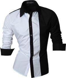 Encontrar Más Camisas Casuales Información acerca de Para hombre corte Slim de…