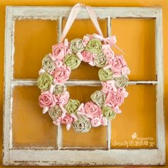 pretty little wreath from cereal boxes and fabric