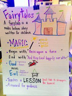 Kindergarten Anchor Charts, Reading Anchor Charts, In Kindergarten, Preschool Classroom, Preschool Learning, Classroom Decor, Fairy Tale Activities, Fractured Fairy Tales, Fairy Tales Unit