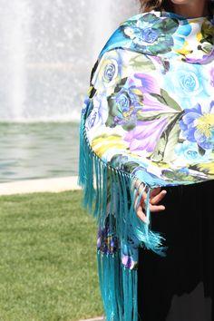 Silk shawl flower printed #marinafinzicollection #spring2016 #silk #