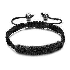 Black Pave Crystal Beads Bracelet