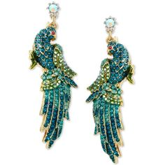 Betsey Johnson Gold-Tone Blue and Green Pave Crystal Bird Drop... ($65) ❤ liked on Polyvore featuring jewelry, earrings, gold, green crystal earrings, green earrings, blue earrings, pave earrings and crystal drop earrings