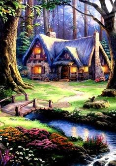 Painting - Cottage By The Creek Fantasy Art Landscapes, Fantasy Landscape, Landscape Art, Landscape Paintings, Beautiful Nature Wallpaper, Beautiful Paintings, Beautiful Landscapes, Cute Cottage, Cottage Art