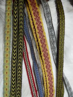 some of my tablet woven bands, often used to decorate viking clothing or as belts. Inkle Weaving, Inkle Loom, Card Weaving, Tablet Weaving Patterns, Loom Patterns, Pretty Patterns, Beautiful Patterns, Yarn Crafts, Fiber Art